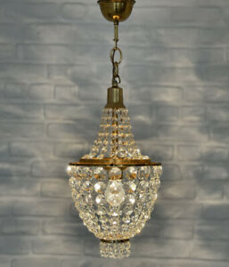 Antique Vintage Brass & Crystals  Small Empire Chandelier Lighting Ceiling Lamp