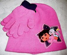 DORA THE EXPLORER with Monkey Beanie Hat & Gloves Pink Nickelodeon
