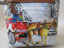 SHARIF LEATHER HAND PAINTED CARRIAGE NYC BAG PURSE - NWT