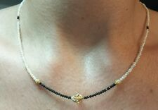 Faceted 3ct Black diamond white freshwater seed pearl necklace 14k gold flower