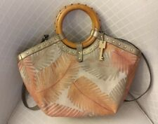 Fossil Purse Colorful Hawaiian Print With Wooden Handles Cross body Strap