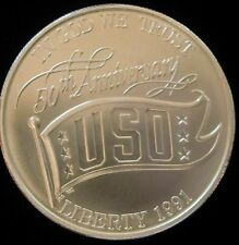 1991 Denver Mint Commemorative 90% Silver USO 50th Anniversary Dollar BU
