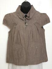 Womens Topshop Brown Striped Cropped Jacket Blazer Size 10 Eur 38 Boho Retro