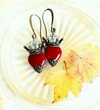 Vintage Tattoo Blood Red x Antique Bronze Sacred Heart earrings, Milagro, Pin Up