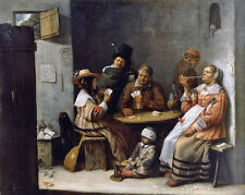 17th Century Flemish Card Players Gambling Painting Canvas Giclee Art Print New