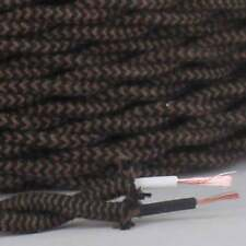 BLACK & BROWN ~ Antique Look Cloth Covered TWISTED Lamp Wire Cord ~ Per Foot