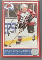 ADAM DEADMARSH #18 COLORADO AVALANCHE SIGNED NHL 4 x 6 POST CARD PHOTO NO COA
