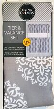 Living Colors Tier & Valance Set 1 Carthage Valance & 2 Tiers Gray & White