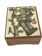 """Reuge Swiss Wood Music Box w/ Hummel Picture Plays """"Edelweiss"""" Song"""