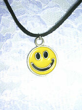 NEW VINTAGE CLASSIC YELLOW SMILEY FACE EMOJI PEWTER PENDANT ADJ CORD NECKLACE