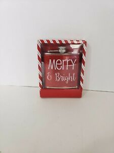 Boston Warehouse Merry & Bright Flask 6 oz Stainless Steel Hip Drinking Whiskey
