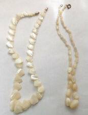 Amazing Vintage Lot Of 2 Mother Of Pearl Graduated Hearts Oval Beads Necklaces