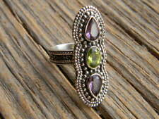 "peridot 1 1/4"" long size 6 Sterling silver ladies ring 2 amethyst 1"