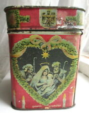 Antique Victorian German Nativity Motif Christmas Tin Haeberlein-Merzger