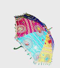 Handcrafted Multicolor Umbrella Sun Shade Umbrella Cotton Big Parasols