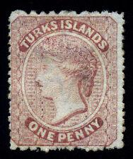 Turks Islands. 1873. 1d. Lake. SC# 4. SG# 4. Wmk. Star. Mint Hinge