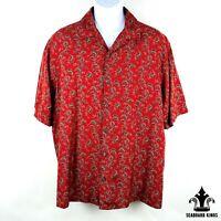 AXIST Men's Red Floral Button Up Short Sleeve Shirt - Mens XL
