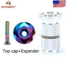 "1 Set KRSEC Headset Expander&Top Cap Plug 1-1/8"" MTB Bike Stem/Fork Top Cover"
