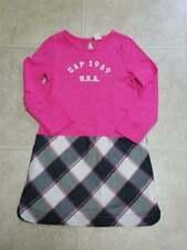 NWOT Baby Gap girls size 5T pink and gray plaid logo dress
