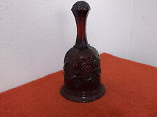 Vintage Avon Ruby Red Glass Dinner Bell in Cape Cod Pattern Released 1979