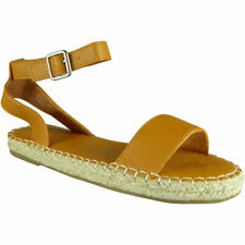 Womens Ladies Ankle Flat Slingback Espadrilles Shoes Peeptoe Summer Sandals Size