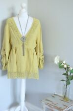 MISS SUGAR yellow lagenlook linen blend lace tunic blouse OSFA