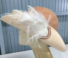 VTG Mr. Charles Women's Church Derby Feathered Brown Tan Party Dress Hat
