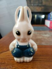 """Vintage Baby Rattle Bunny Rabbit Toy Made by Rosbro Plastic 4 1/4"""" Tall"""