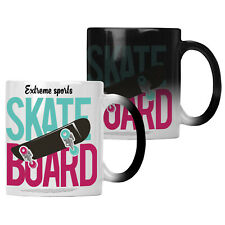 Extreme Sports Skate Board Green and pink Colour changing 11oz Mug hh942w