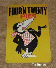 Aussie MEAT PIE tin SIGN vintage art Four n Twenty BLACKBIRD advertising retro