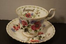 Royal Albert Flower of the Month AUGUST POPPY Bone China Cup & Saucer England