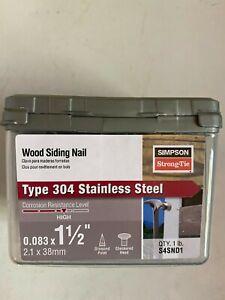 """Simpson Strong-Tie S4SND1 4d 1-1/2"""" 14Ga 304SS Siding Nail 1lb"""