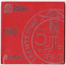 CARTERA OFICIAL ITALIA AÑO 2008 CON 5 EUROS DE PLATA.