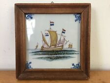 Vtg Antique Dutch Delft Makkum Holland Sailing Ship Hand Painted Polychrome Tile