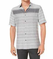 Alfani Gray Mens Size Medium M Gradient Stripe Button Down Shirt $55 #194