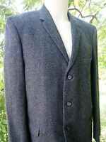 Vintage Mens 1960s Herringbone Plaid Tweed Wool Blazer Narrow Lapels Large 44
