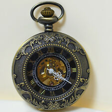 Vintage Style Rare Classic Skeleton Auto Mechanical Bronze Metal Pocket Watch