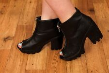 Chunky black faux leather zip up peep toe biker style ankle boots size 6