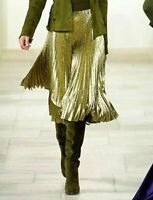 New NWT Ralph Lauren Collection Purple Label Gold Pleated Dress Runway Skirt 10