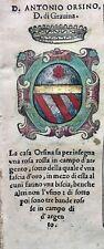 1586 ARALDICA STEMMA ANTONIO ORSINI Duca di Gravina di Puglia Regno di Napoli