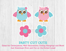 Pink Owl Party Cutouts Decorations Printable