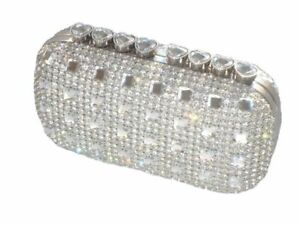 Bling Hearts Crystal Diamante Evening bag Clutch Purse Bride Wedding Party Prom