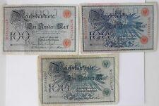 Three GERMAN Ein Hundert Mark Bills From 1908~~Smaller Notes, Quite Pretty