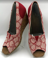 TOM'S Women's Red and Off White Cork Wedge Heels Peep Toe Size 12