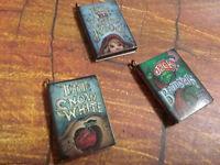 "Miniature Book Charms Wood Charms Fairy Tale Charms Set of 3 1"" Fairytale Charms"