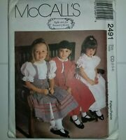 Jacket Dress Pinafore Size 2 3 4 Girls Sewing Pattern 2491 McCalls UC FF Modest