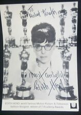 Edith Head Autograph ~ Signed & Inscribed photograph with 7 Oscars - RARE