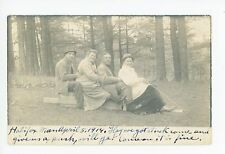 Friends on Pretend Sled RPPC Halifax MA Antique Woods Photo 1914