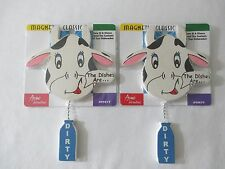 *2* NEW WOOD WOODEN COW DISHWASHER MAGNETS SHOWS IF DISHES ARE CLEAN OR DIRTY