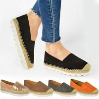 Womens Ladies Flat Espadrilles Summer Sandals Slip On Wedge Holiday Shoes Size